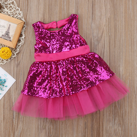 Princess Kids Baby Girls Sequins Dress Sleeveless Toddler Baby Party
