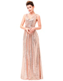 Luxury Gold Silver Long Sequin Evening Dress