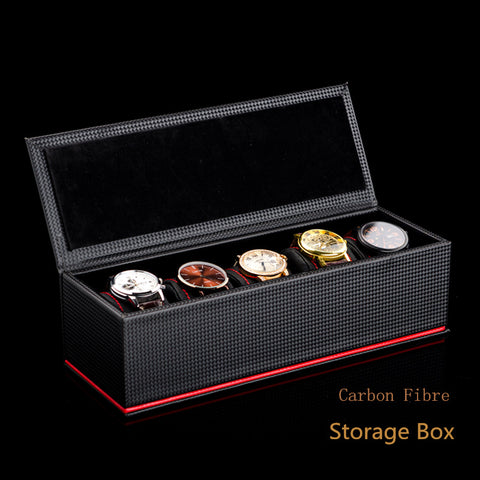 High Quality PU Watch Boxes 5 Slots Watch Storage Case Black Display Box