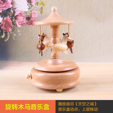 High Grade Wooden Crafts Carousel Musical Boxes Music Box