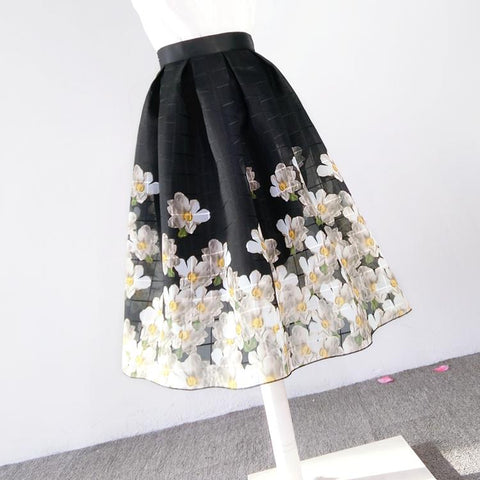 Summer Vintage Elegant Floral Fashion Skirts Womens Pleated