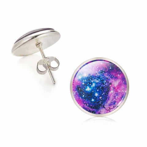 Galaxy Star Universe Glass Cabochon Silver Stud Earrings