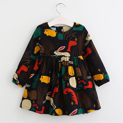 Autumn Winter Girls Dress  Cartoon Forest Animals