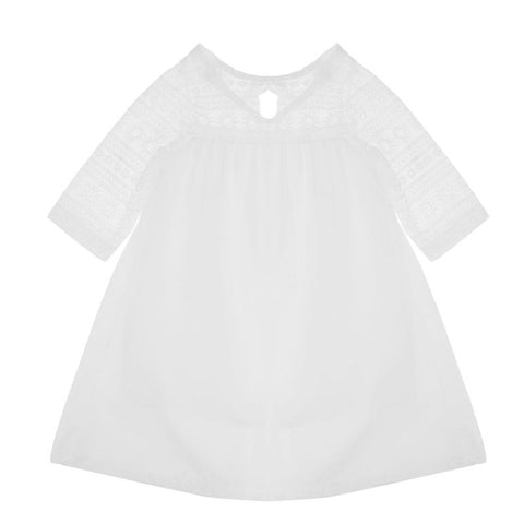 Kids Cotton Lace Hollow Out Patchwork Dress For Girls Kids