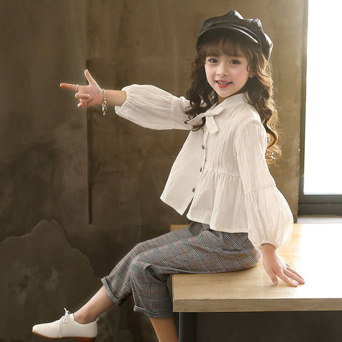 Autumn Baby Blouses and Plaid Pants Fashion Girls Set