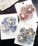 Korea Retro Weave Flowers Pearl Side Bangs Clip Hair Accessories