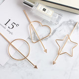 Korean Barrette Moon Triangle Design Metal Hair Clips