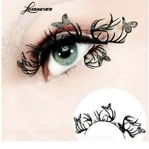 Beauty 1Pair Paper Cutting Flower Butterfly Eye Stickers Eyeliner Royal Luxury False Eyelashes
