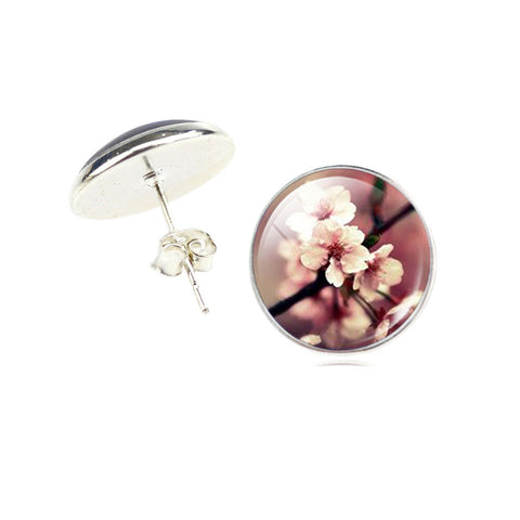 Vintage Silver Color Earrings Fashion Glass Cabochon Stud Earrings Fresh Flower Style