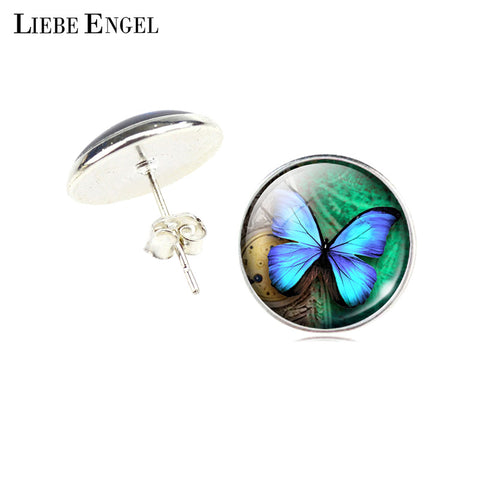 Vintage Statement Stud Earrings Glass Cabochon Butterfly Earrings Silver Color
