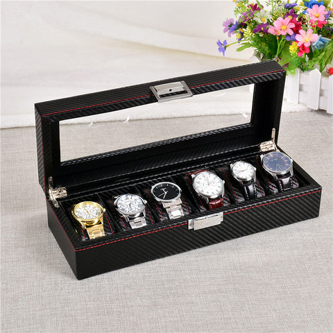 Pu leather black high-end watch box jewelry display boxes
