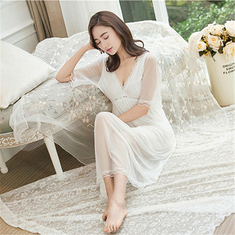 be44889bb4 Lace Nightgowns Women Sleepwear Soft Sleep Lounge Vintage Nightgown Female