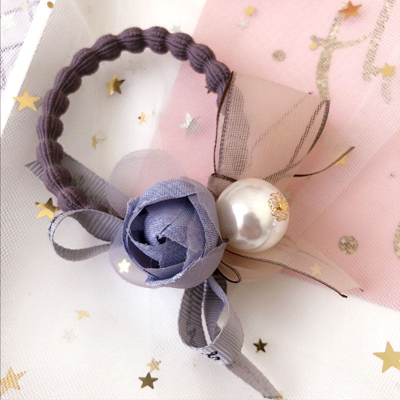 Lace ribbon flowers elastic hair bands rubber band pearl bow hair ties gum  lotus root 5e52f0a9e22