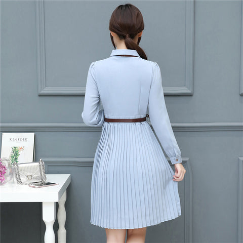 07e2ce80671 Ladies Pleated Dresses Autumn Women Vintage Long Sleeves Lace-up Bowknot