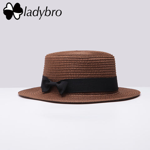 a7364c03 Boater Beach Hat Female Casual Panama Hat Lady Brand Classic Bowknot Straw