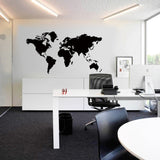 Black World Map Decal Art Office Home Decor Wall Stickers