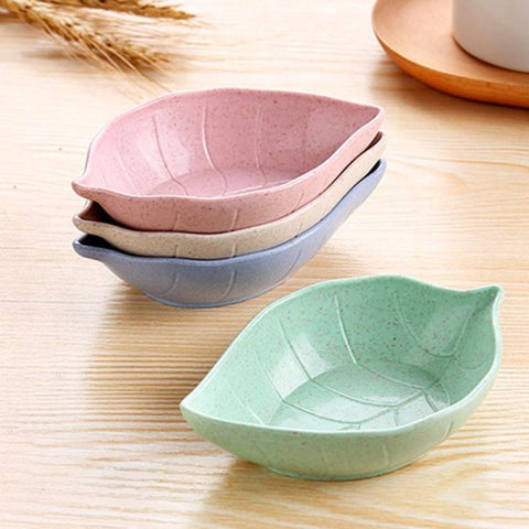 Leaves Shape Baby Kids Dish Bowl Wheat Straw Soy Sauce Dish