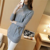 knitted Long Sweater Women Long Sleeve Turtleneck Warm Jersey Sweaters And Pullovers Female