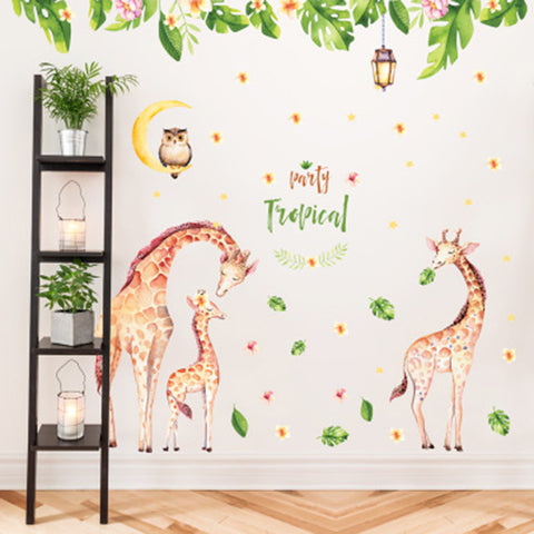 Lovely Giraffes Family Owl on Moon Retro Lamp Flowers Leaves Wall Stickers