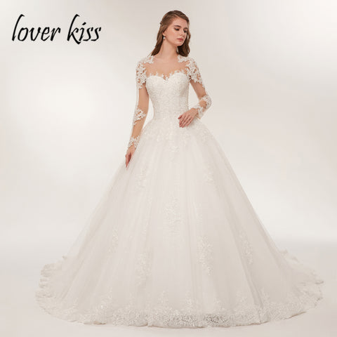 Luxury Sheer Tulle Long Sleeve Wedding Dress