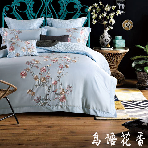 Luxury Egyptian Cotton Floral Embroidery Bedding Set