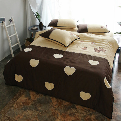 Luxury Egyptian cotton bedding set gold heart pattern