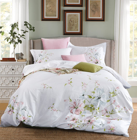 Luxury Quality 100% Cotton Embroidery Flower Bedding set