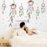 New 2018 Wall Stickers Lucky Dream Catcher Feathers Wall Sticker Decal