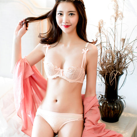 Sexy Girl Thin Cup Sets Push Up 1 2 Cup Lace Breathable Underwear Women