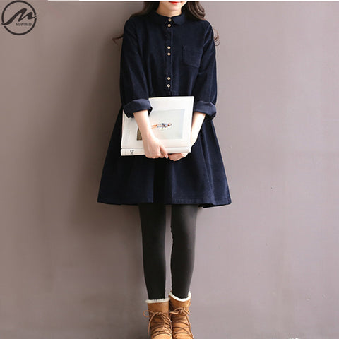 Big Size Autumn Winter Dresses Vintage Solid Color Casual Loose Long Sleeved Cotton