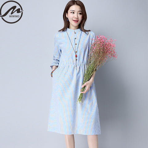 Large Size Women Autumn Dresses  Casual Loose  Striped Elastic Waist Cotton Linen Long Dress
