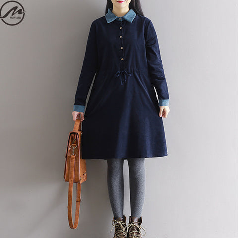 Fashion Women Autumn Winter Vintage Casual Dresses Big Size Clothing