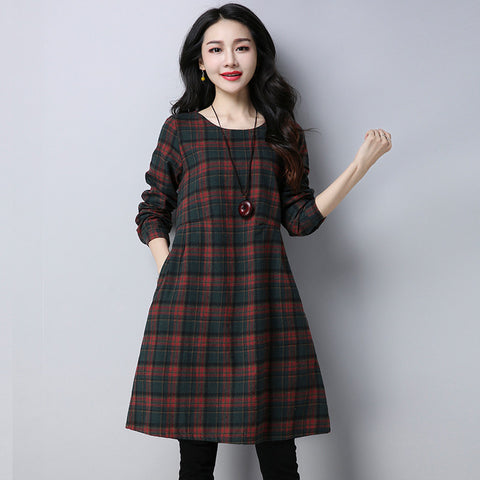 Autumn Winter Casual Loose Cotton Linen Plaid Dresses Big Size Clothing