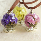 Trendy Handmade Glass Bottle Necklace Real Dried Flower Pendant