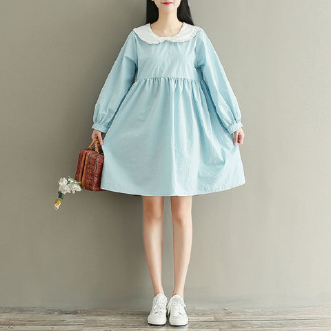Blue Mini Dress Peter Pan Collar Lantern Sleeve Casual Lovely Cotton Bow Dress