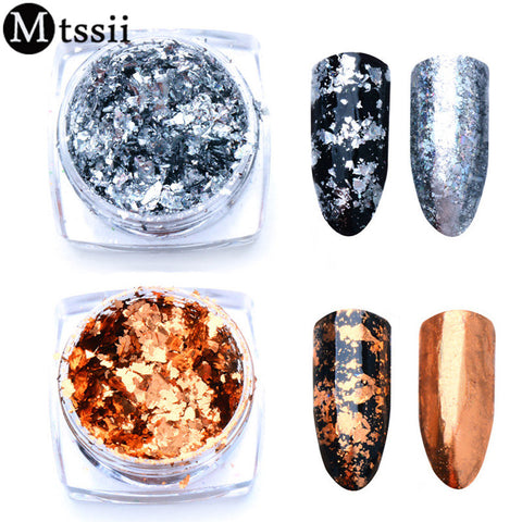 Silver Gold Nail Sequins Paillettes Flakes Magic Mirror Effect Nail