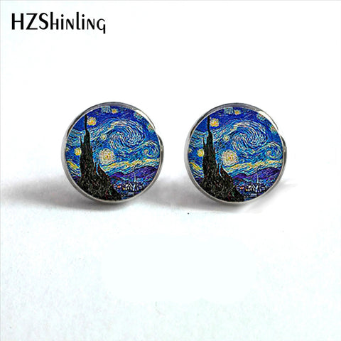 Stud Earrings The Starry Night Ear Studs Van Gogh Sunflowers Round Jewelry