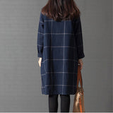 New Style Spring Autumn Women dress loose grid Cotton Linen Vintage Dress
