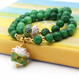 Nature Stone green 8mm Beads Multilayer Bracelet Lucky Cat Pendant Cute
