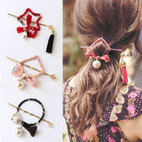 New Chinese National Style Round Square Bows Pearl Print Hair Sticks - Hair Accessories