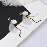 New Fine Stud Earrings Butterfly Wing Mother Imitation Pearl Shell Earrings