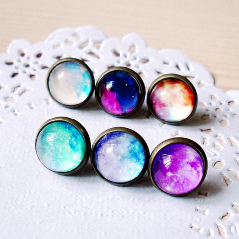New Galaxy Nebula earring Outer Space Star Magic Cabochons Glass Jewelry