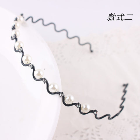 New Hot Korean Luxurious Rhinestone Pearl Wave Hair Band Lady Hair Hoop
