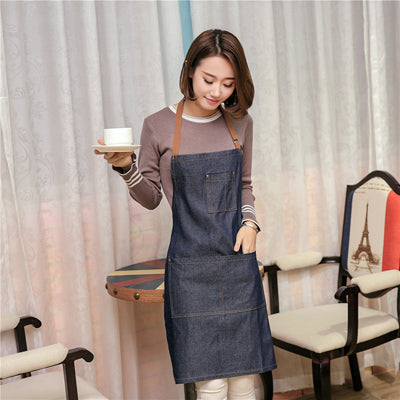 Simple Antifouling Uniform Unisex Denim Aprons