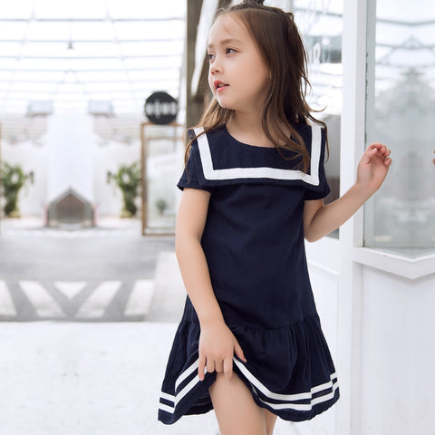New Kids Dress for Girls Knee-length Short Sleeve Dresses