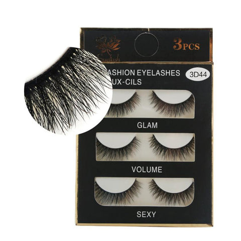 3 pairs/1Box Luxury 3D Fashion False Lashes Fluffy Strip Eyelashes Long Natural