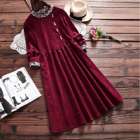 Women Cute Dress Round Neck Vintage Long Sleeve Dresses - 2 options ... 13ebfbd26