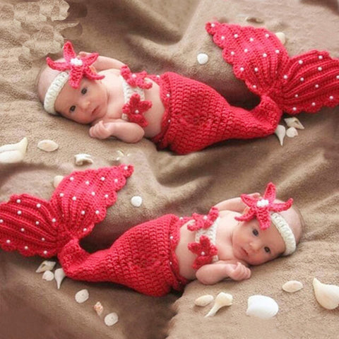 newborn baby little girl crochet mermaid photography props outfits