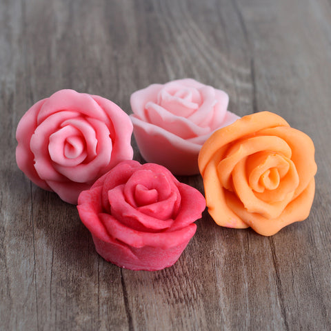4-Cavity Rose Flower Shapes Silicone Soap Mold Craft Handmade Soap Making Mould