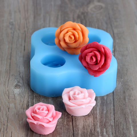 4-Cavity Rose Flower Shapes Silicone Soap Mold Craft Handmade Soap